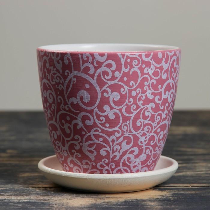 Горшок цветочный Скань розовый крокус №1, 0,7 л