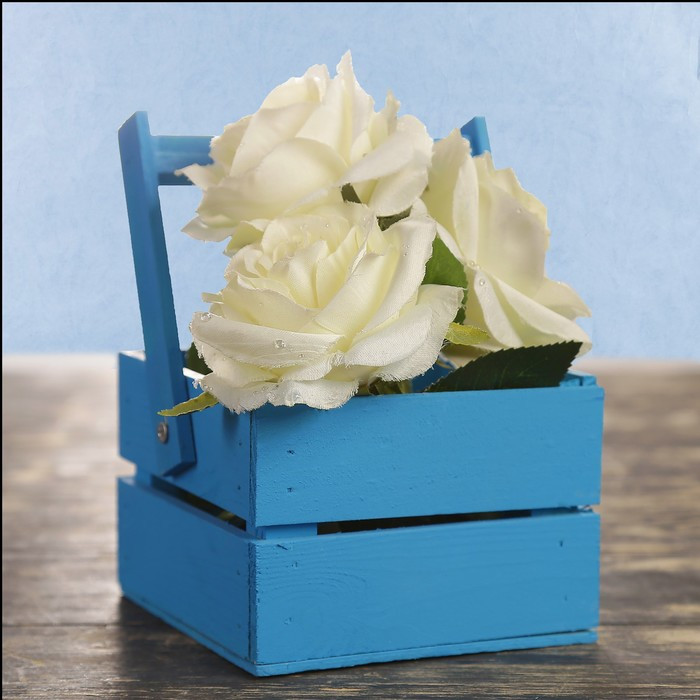 "Кашпо деревянное 12×11×9 см ""Однушка Лайт"", двухреечное, голубой Дарим Красиво"