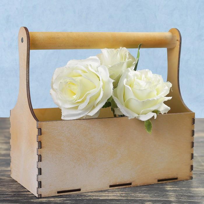 Кашпо деревянное 24×12×22 см Мэлони Дэмур, с ручкой, белое золото Дарим Красиво