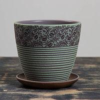 Горшок цветочный Кофе серо-зеленый крокус №2, 1,4 л, фото 1