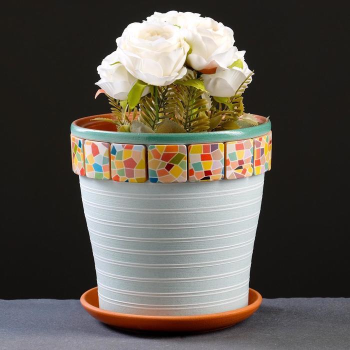 Горшок цветочный Мозаика светло-бирюзовый клен №3, 2,6 л