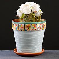 Горшок цветочный Мозаика светло-бирюзовый клен №3, 2,6 л, фото 1