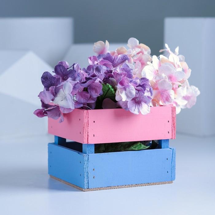 Ящик реечный розово-голубой, 11 х 12 х 9 см