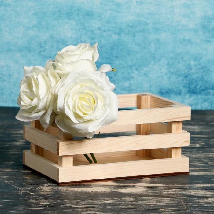 """Кашпо деревянное 20×13×9.5 см """"Classic"""", трёхреечное, натуральный Дарим Красиво"""
