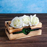 "Кашпо деревянное 24.5×13.5×9 см ""Двушка Лайт"" реечное, сердце, обжиг Дарим Красиво, фото 1"