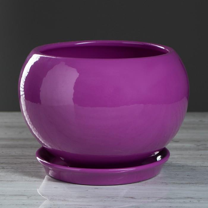 """Цветочный горшок """"Шар"""", премиум, фиолетовый, 2 л"""