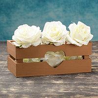 """Кашпо деревянное 24.5×13.5×9 см """"Двушка Лайт"""" реечное, сердце, коричневый Дарим Красиво, фото 1"""