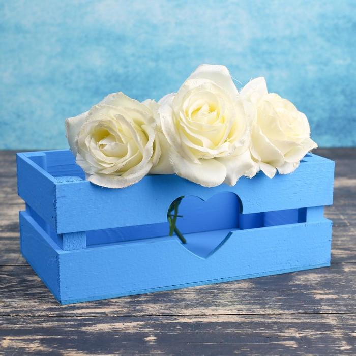 """Кашпо деревянное 24.5×13.5×9 см """"Двушка Лайт"""" реечное, сердце, голубой Дарим Красиво"""