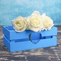 "Кашпо деревянное 24.5×13.5×9 см ""Двушка Лайт"" реечное, сердце, голубой Дарим Красиво, фото 1"