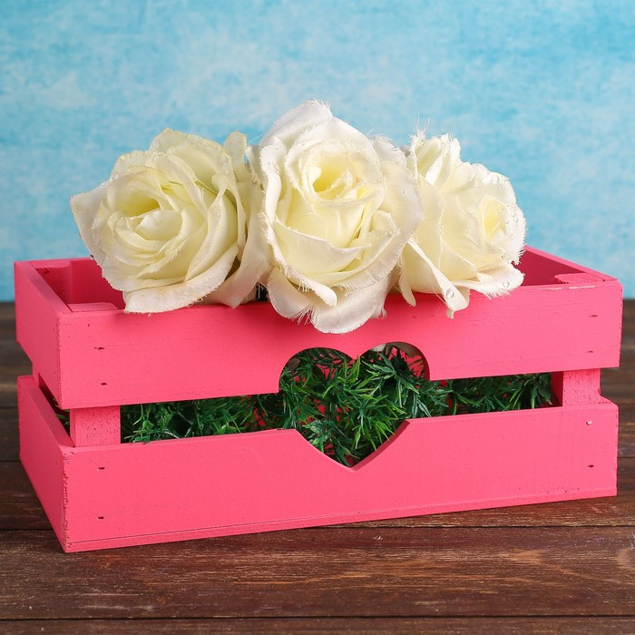 """Кашпо деревянное 24.5×13.5×9 см """"Двушка Лайт"""" реечное, сердце, розовый Дарим Красиво"""