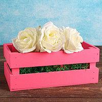 """Кашпо деревянное 24.5×13.5×9 см """"Двушка Лайт"""", двухреечное, розовый Дарим Красиво, фото 1"""