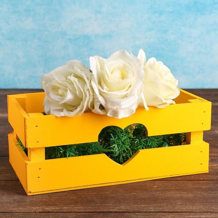 """Кашпо деревянное 24.5×13.5×9 см """"Двушка Лайт"""" реечное, сердце, жёлтый Дарим Красиво"""