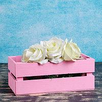 """Кашпо деревянное 24.5×13.5×9 см """"Двушка Лайт"""", двухреечное, розовый светлый Дарим Красиво"""