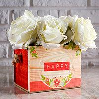 """Кашпо деревянное 12.5×10.5×9.5 см Элен """"Happy"""", ручка верёвка, фото 1"""