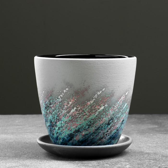 Горшок цветочный Живопись черный крокус №2 1,4 л