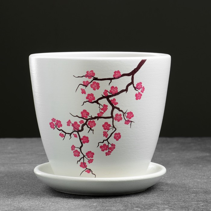 Горшок цветочный Сакура белый крокус №2 1,4 л