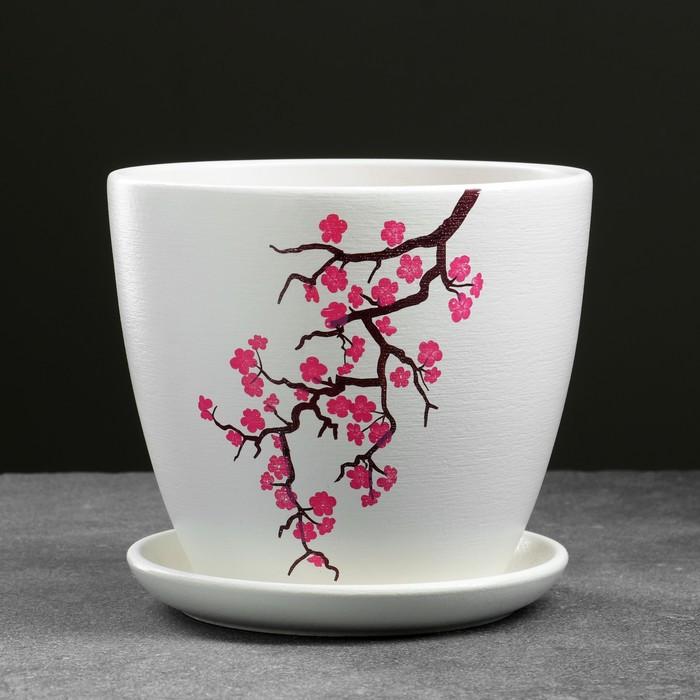 Горшок цветочный Сакура белый крокус №3 2,3 л