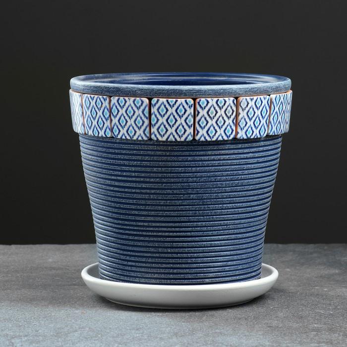 Горшок цветочный Ромб синий клен №3 2,6 л