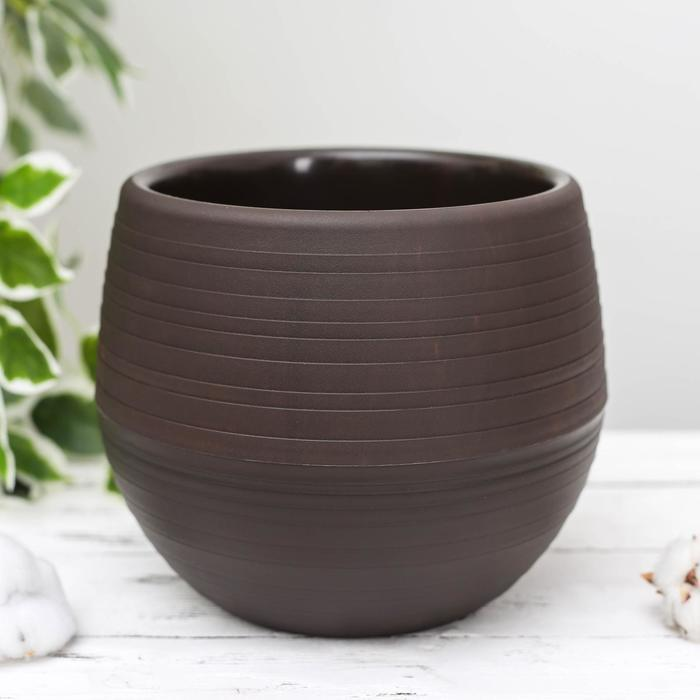 Горшок для цветов «Япония» 3 л, цвет темно-коричневый