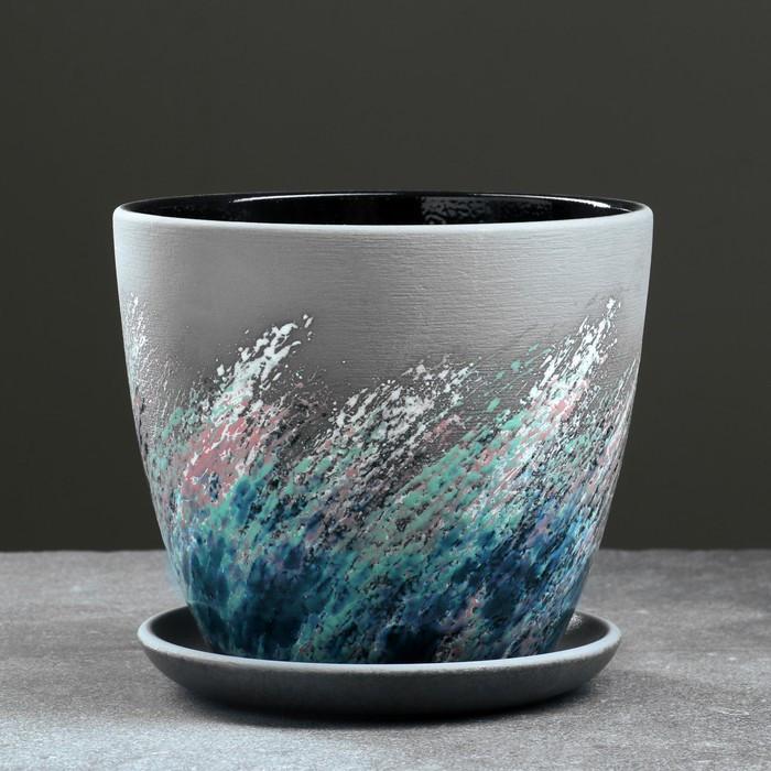 Горшок цветочный Живопись черный крокус №3 2,3 л