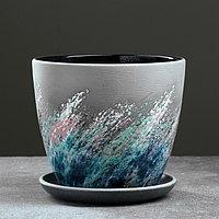 Горшок цветочный Живопись черный крокус №3 2,3 л, фото 1