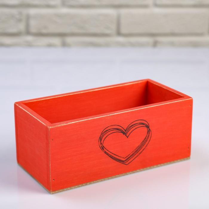 """Кашпо деревянное 20×10×8 см """"Элегант, сердце греет"""", красное"""