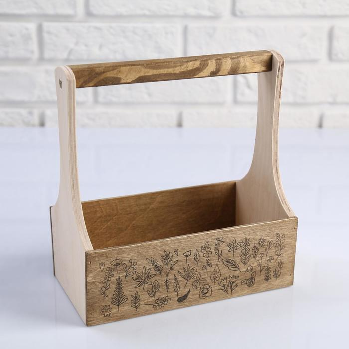 """Кашпо деревянное 21×12×22(7) см """"Таёжный дух"""", Гербарий из веточек"""