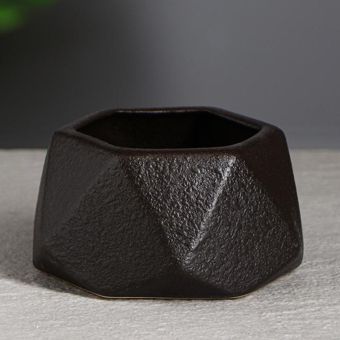 """Горшок для цветов """"Оригами """" 0.3л, кожа, коричневый"""