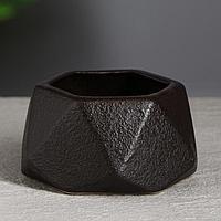 """Горшок для цветов """"Оригами """" 0.3л, кожа, коричневый, фото 1"""