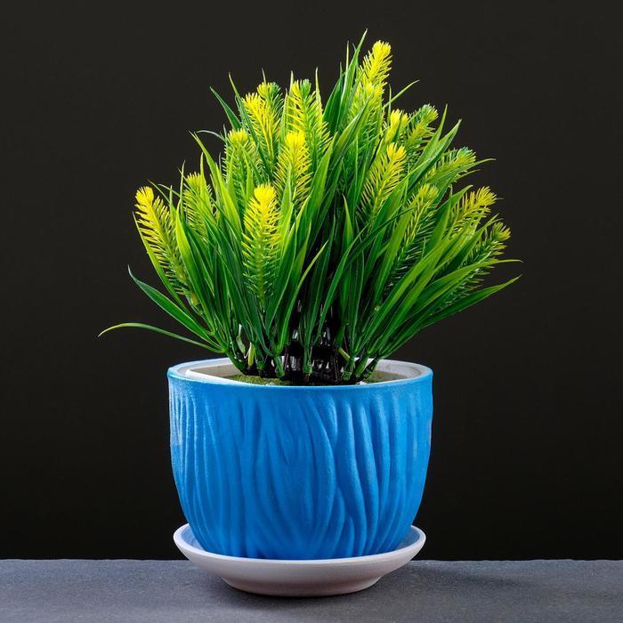 Горшок цветочный Кора синий, 4 л