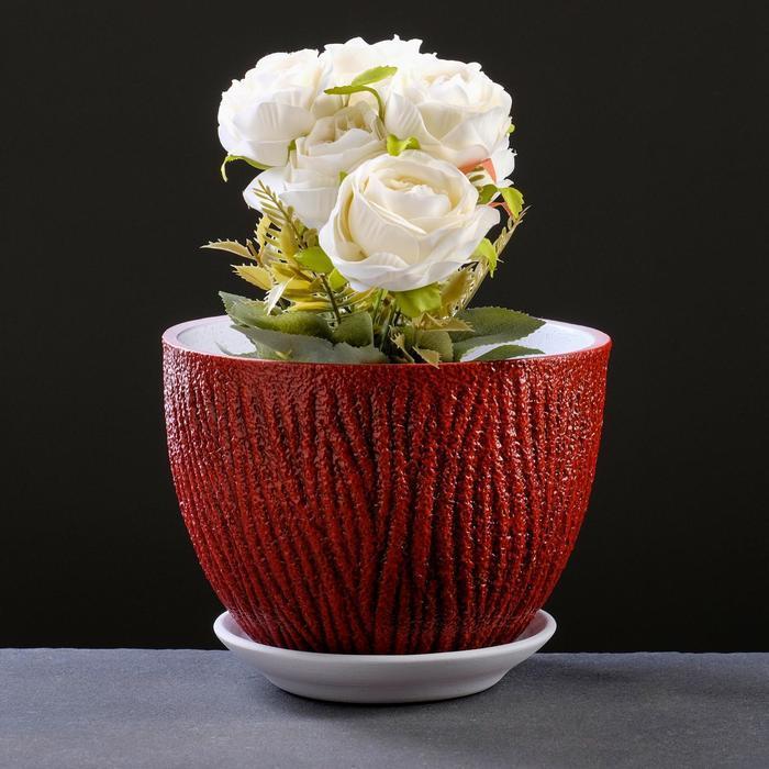 Горшок цветочный Кора красный, 3 л