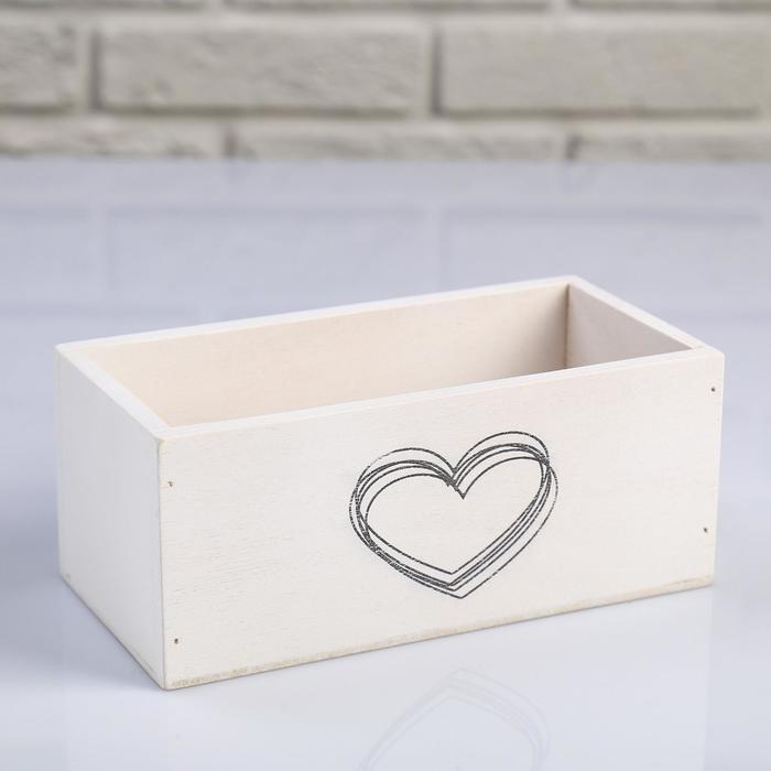 """Кашпо деревянное 20×10×8 см """"Элегант, сердце греет"""", белое"""