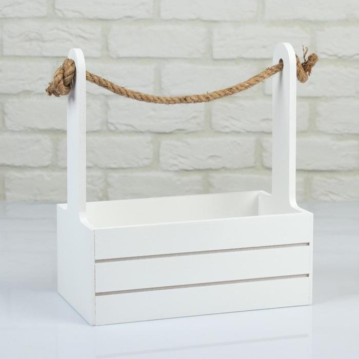 """Кашпо деревянное 25.5×15×30 см """"Аром"""", ручка канат, белое"""