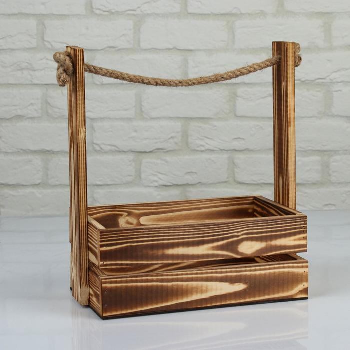 """Кашпо деревянное 25.5×15×30 см """"Аром"""", ручка канат, натуральное"""