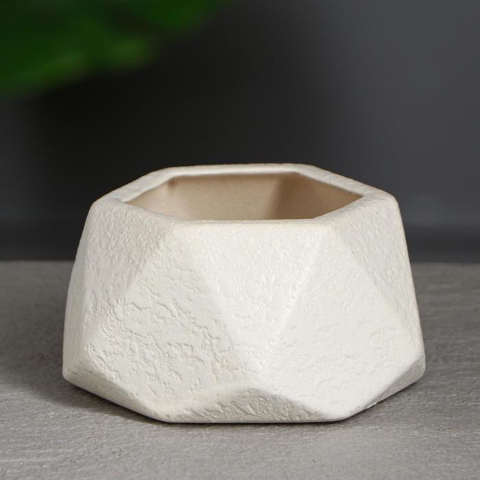 """Горшок для цветов """"Оригами """" 0.3л, кожа , белое"""