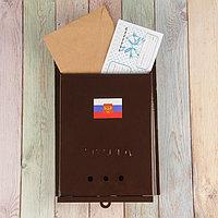 Ящик почтовый без замка (с петлёй), вертикальный, «Почта», коричневый, фото 1