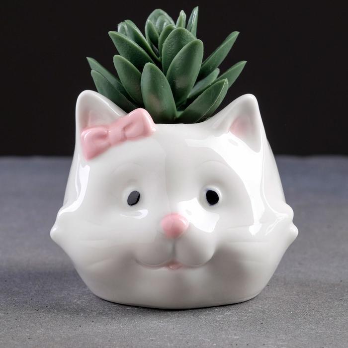 """Кашпо керамическое """"Кошка"""" 10*8см"""