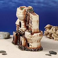 """Декорация для аквариума """"Две башни и стена"""", 10 х 19 х 19 см, микс"""