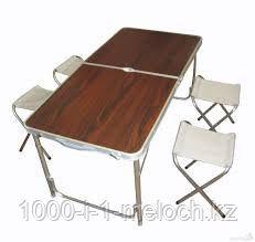 Стол-чемодан раскладной для пикника 120*60 см. (цвет бук и красное дерево). - фото 3