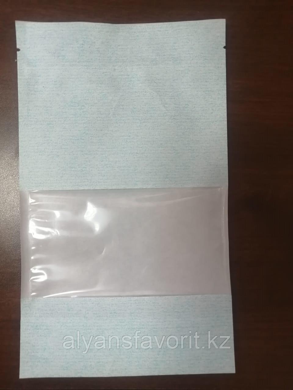 Пакет дой-пак бумажный голубой с окном 70 мм и с замком zip-lock