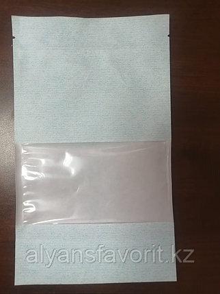 Пакет дой-пак бумажный голубой с окном 70 мм и с замком zip-lock, фото 2
