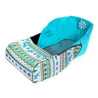 Сиденье мягкое для санок с чехлом для ног «Вязаный узор», цвет бирюзовый