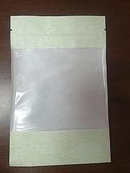 Пакет дой-пак бумажный салатовый с окном 70 мм и с замком zip-lock