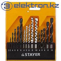 Набор сверл комбинированных (по металлу, дереву, бетону) Ø2-10 мм. 15 шт. Stayer Standard 29720-H16