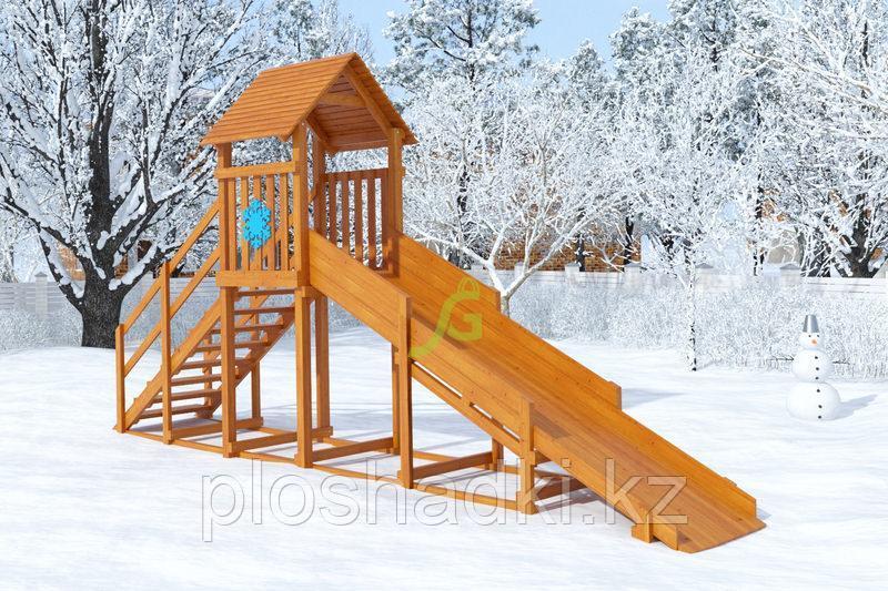 """Зимняя горка """"Снежинка""""с крышей , скат 4 м"""