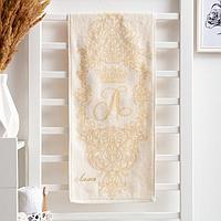 """Полотенце именное махровое с вышивкой """"Лилия"""" 30х70 см 100% хлопок, 420гр/м9"""