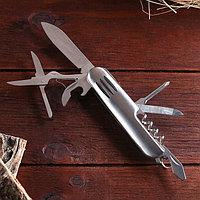 Нож швейцарский Мастер К 7в1, на рукояти 3 полоски, хром