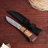 Нож охотничий в чехле, 23 см, лезвие с узором, рукоять деревянная с полосками