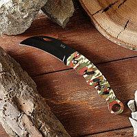 Нож складной, ручка металл, цвет камуфляжный, 11см, без фиксатора, 18*3,5см