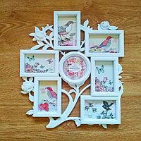 "Фоторамка - коллаж ""Розовый куст""(Мини) на 7 фото, в белом цвете"